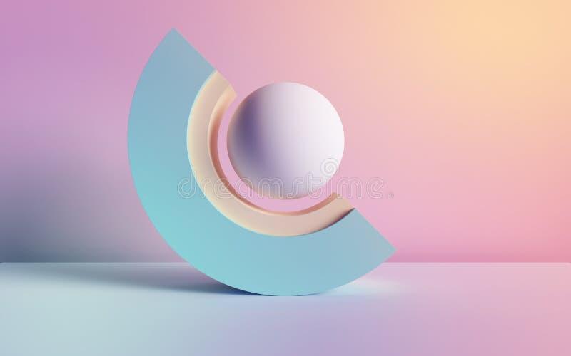 3d odpłacają się, abstrakcjonistyczny tło, pastelowi neonowi pierwotni geometryczni kształty, piłka, łuk, prosty mockup, minimaln ilustracji