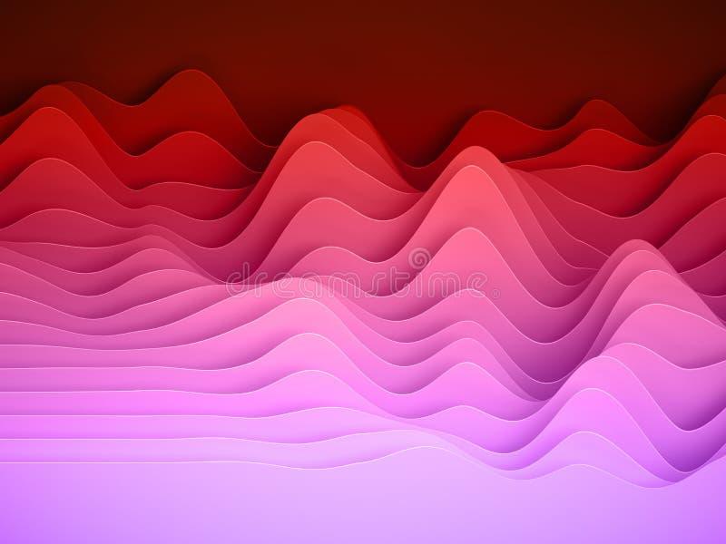 3d odpłacają się, abstrakta papieru kształtów tło, jaskrawe kolorowe pokrojone warstwy, fale, wzgórza, wyrównywacz obraz stock