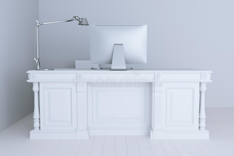 3d odpłacają się białego biurowego wnętrze z dużą stołową lampą komputerem i ilustracji