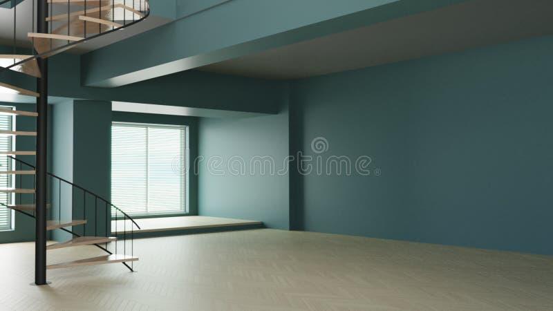 3d odpłacają się białego pokój wewnętrzny ciemnozielony relaksuje royalty ilustracja