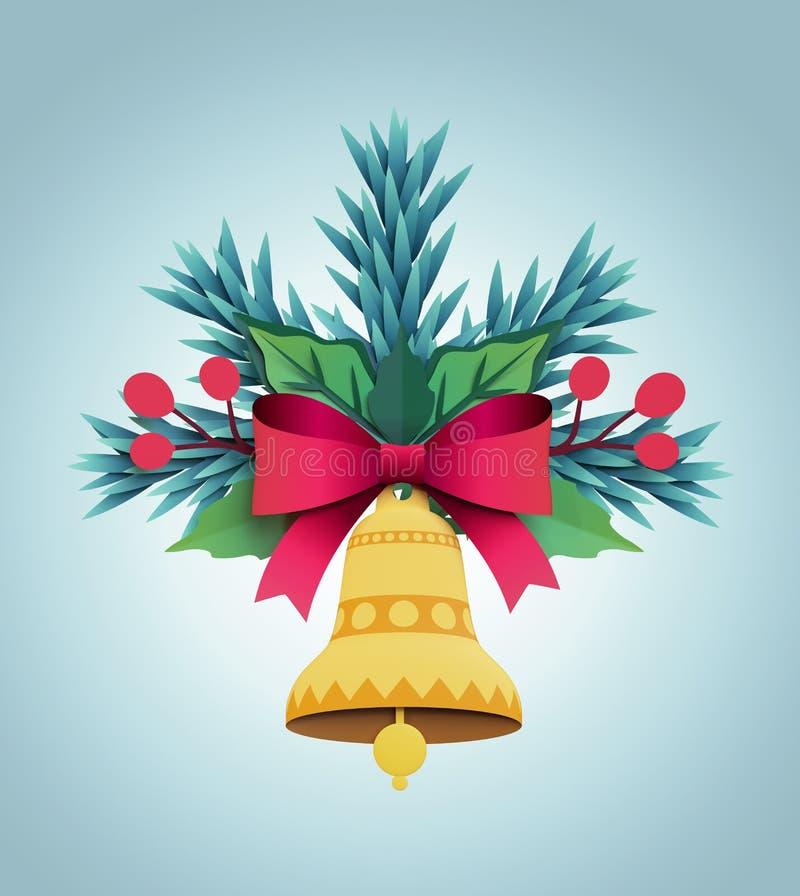3d odpłacają się, boże narodzenie koloru papieru jedlinowego drzewa ornament, płaski dzwon, f ilustracja wektor
