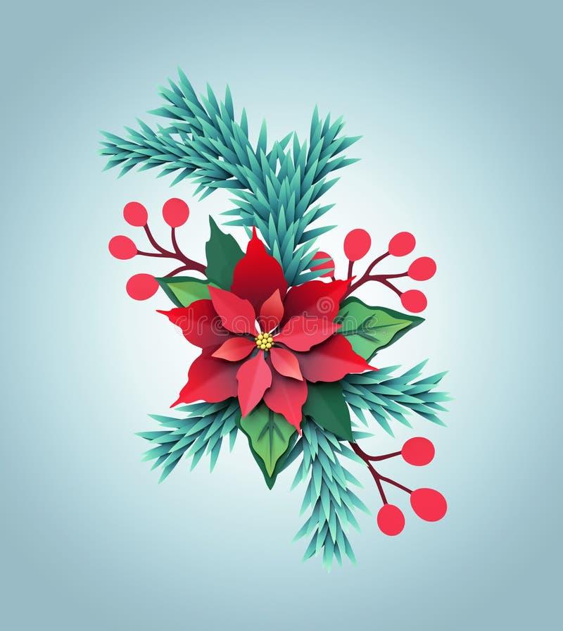 3d odpłacają się, boże narodzenie koloru papieru poinseci kwiat, świąteczny embe ilustracji