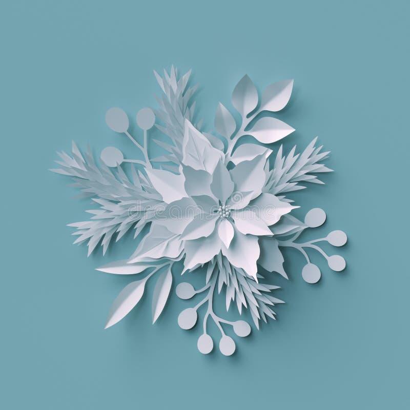 3d odpłacają się, Bożenarodzeniowy tło, białego papieru cięcia kwiaty, ilustracja wektor