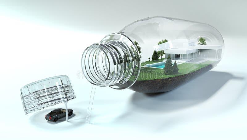 3D odpłacają się butelka z miniaturą dom fotografia stock