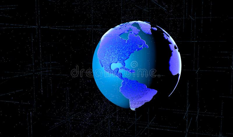 3D odpłacają się Cyfrowej matrycę Ziemska planeta charakteryzowali sieć na całym świecie ilustracja wektor