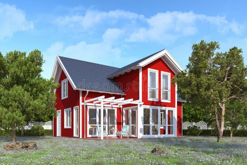 3d odpłacają się czerwień, skandynaw odłączający dom ilustracji