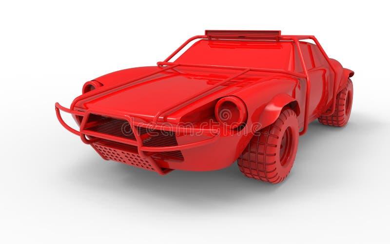 3D odpłacają się - Czerwonego droga samochód ilustracji