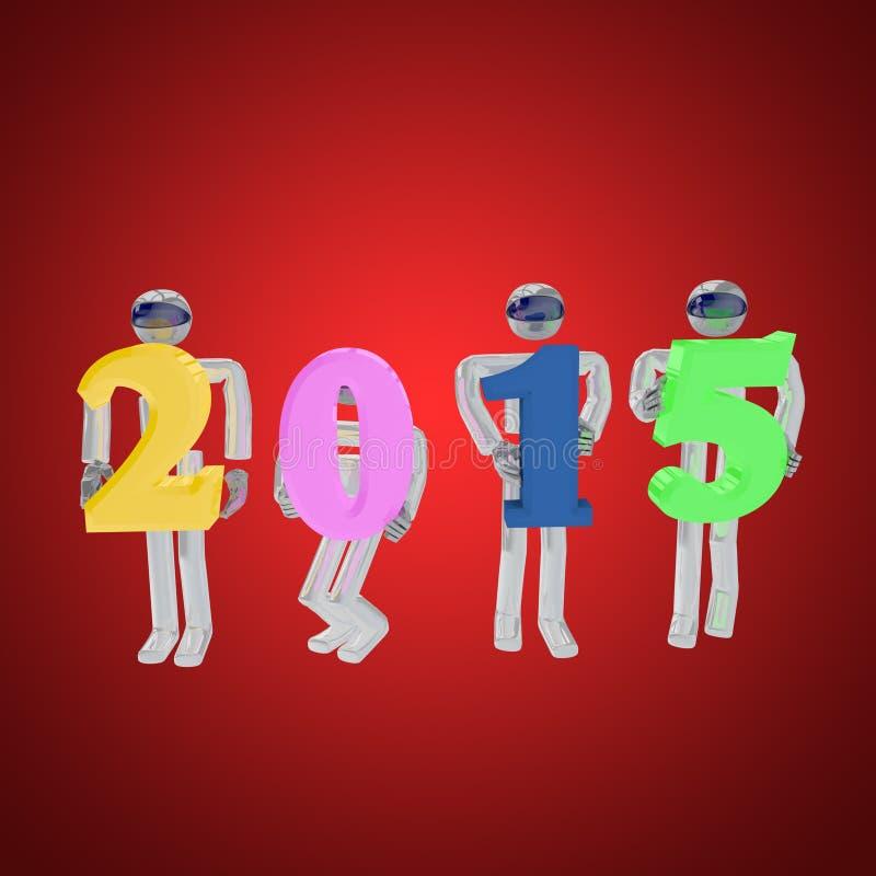 3d odpłacają się cztery robotów powitanie nowy rok na czerwieni royalty ilustracja
