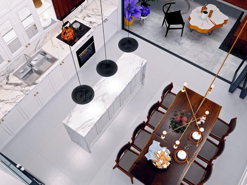 3d odpłacają się domowy kuchenny widok ilustracji