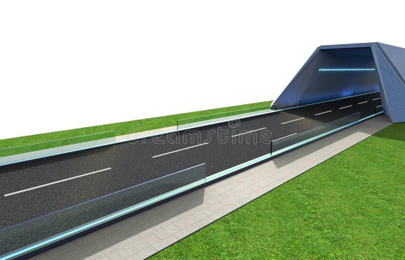 3d Odpłacają się drogę z tunelem i greenfield ilustracja wektor