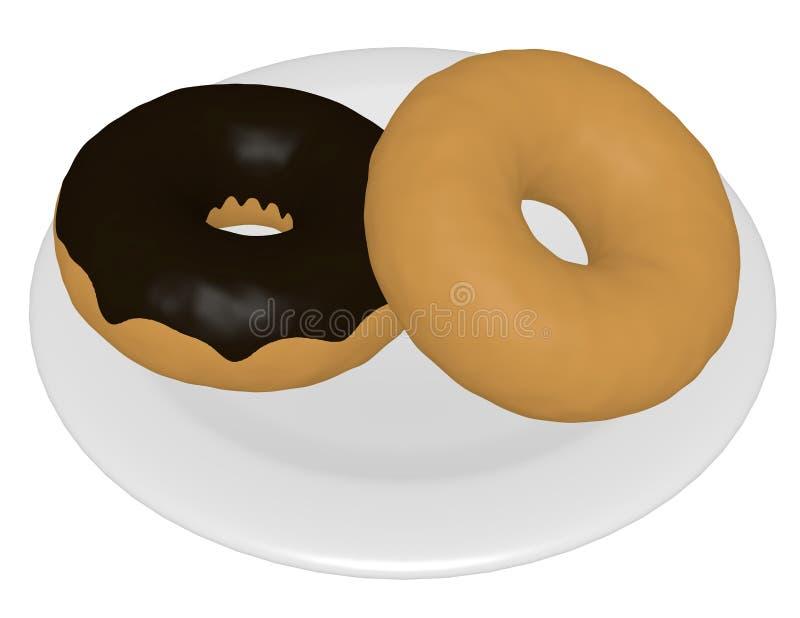 3d Odpłacają się Dwa Donuts na talerzu ilustracja wektor
