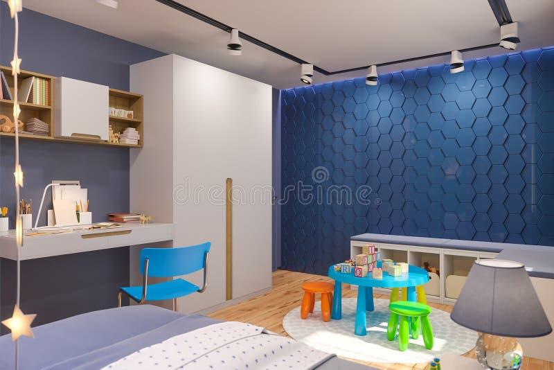 3d odpłacają się dziecka ` s sypialni wnętrze w głębokim błękitnym kolorze ilustracji