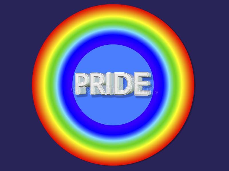 3d Odpłacają się homoseksualista flagi okrąg Paskującego majcheru obok royalty ilustracja