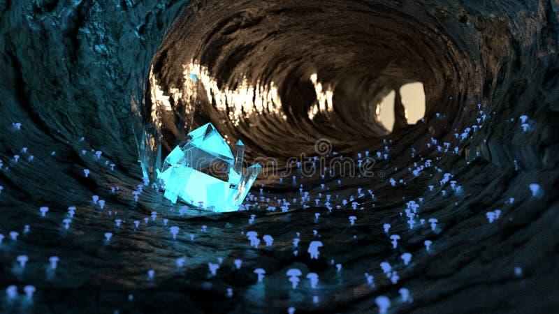 3D odpłacają się jama z jarzy się kryształ i pieczarki royalty ilustracja