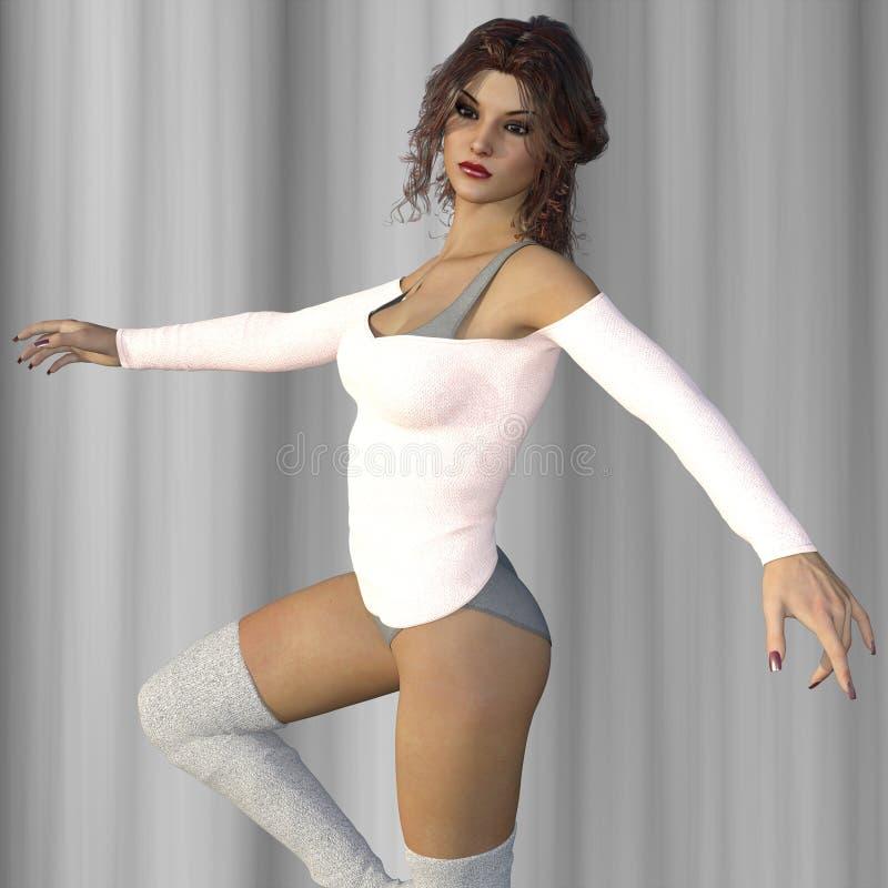3D odpłacają się kobieta taniec przeciw zasłonom royalty ilustracja