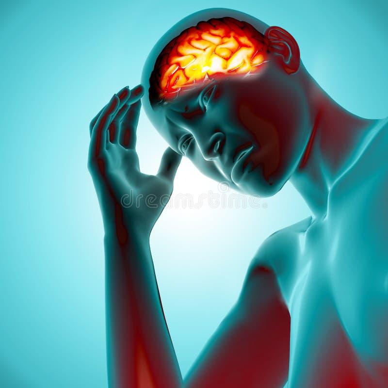 3D odpłacają się kobieta z bólem w głowie royalty ilustracja