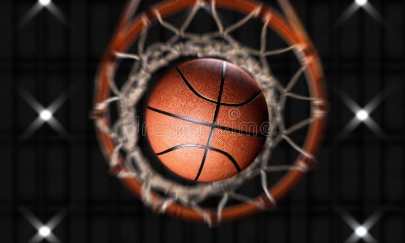 3d odpłacają się koszykówka ogienia przez obręcza vertical kamery royalty ilustracja