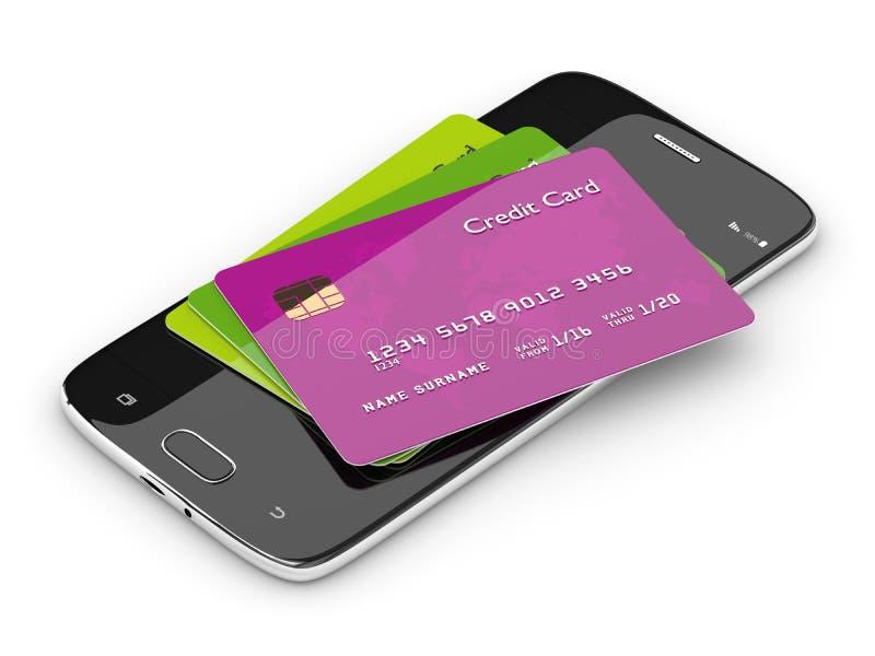 3d odpłacają się kredytowe karty kłama na telefonie komórkowym ilustracja wektor