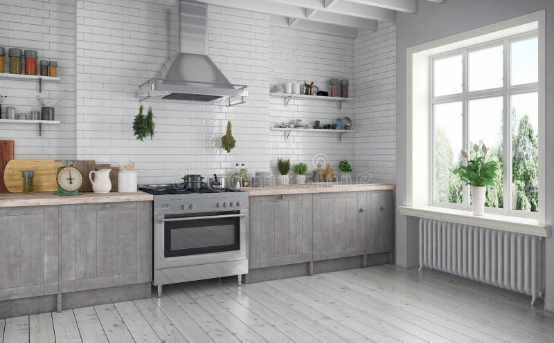 3d odpłacają się kuchnię - scandinavian mieszkanie - ilustracja wektor