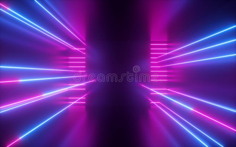 3d odpłacają się, menchii błękitne neonowe linie, geometryczni kształty, wirtualna przestrzeń, pusty pokój, pozafioletowy światło zdjęcie royalty free