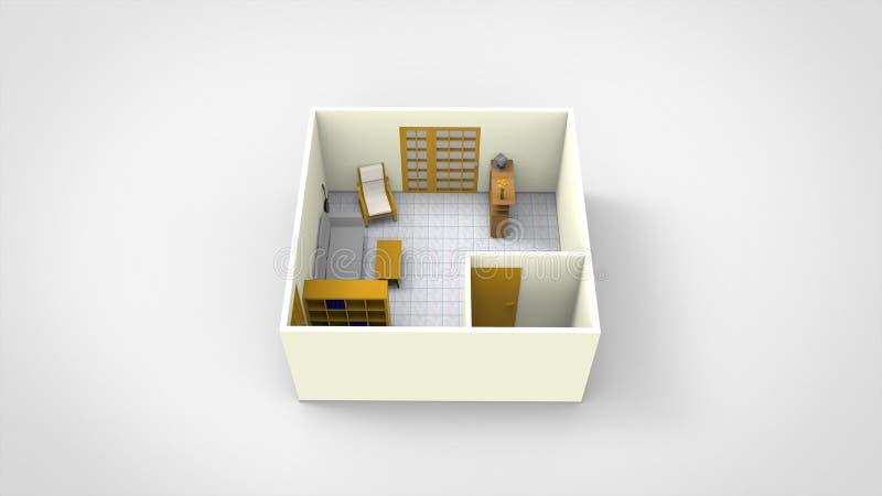 3D Odpłacają się minimalistyczny izbowy projekt odizolowywają royalty ilustracja