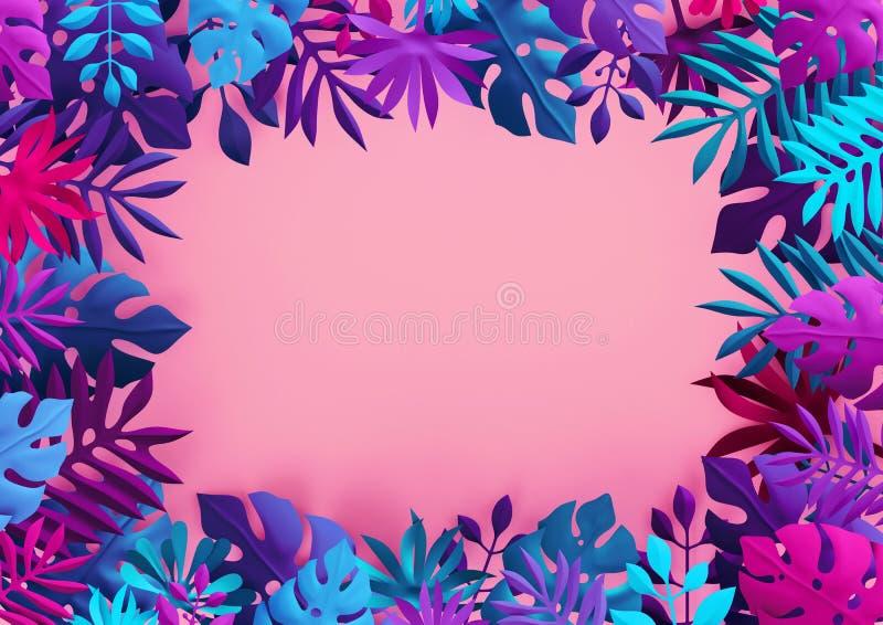 3d odpłacają się, neonowy różowy błękitny tropikalny tło, kolorowi papierów liście, dżungli rama, pusty sztandar, przestrzeń dla  royalty ilustracja