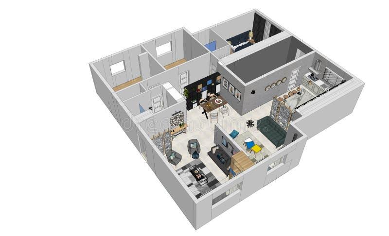 3d odpłacają się nowożytnego mieszkanie odgórny widok obrazy stock