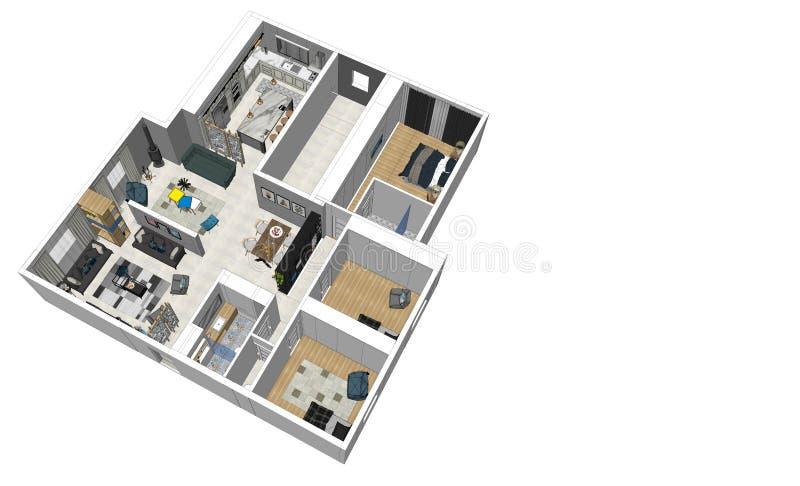 3d odpłacają się nowożytnego mieszkanie odgórny widok zdjęcie royalty free