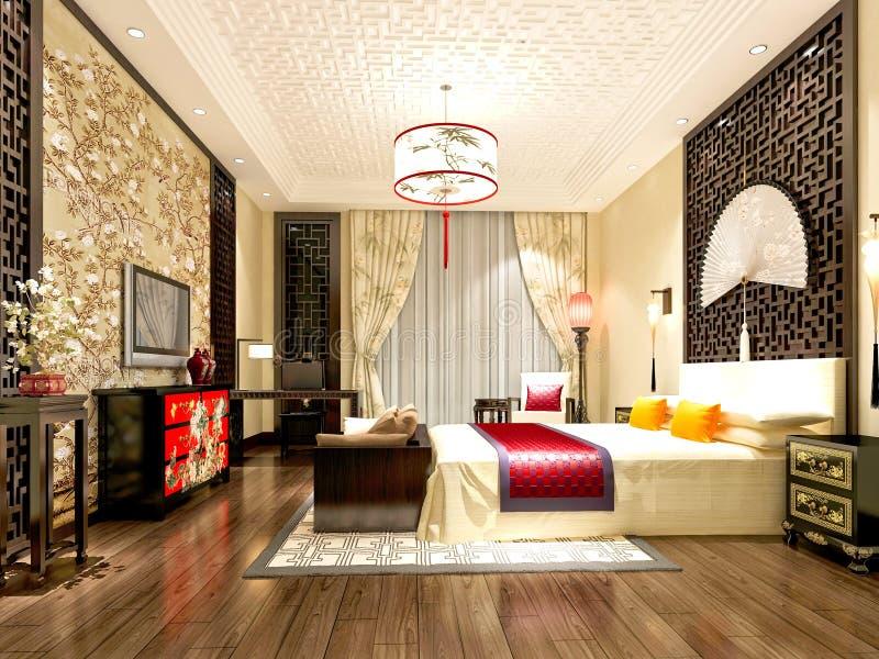 3d odpłacają się nowożytny pokój hotelowy royalty ilustracja