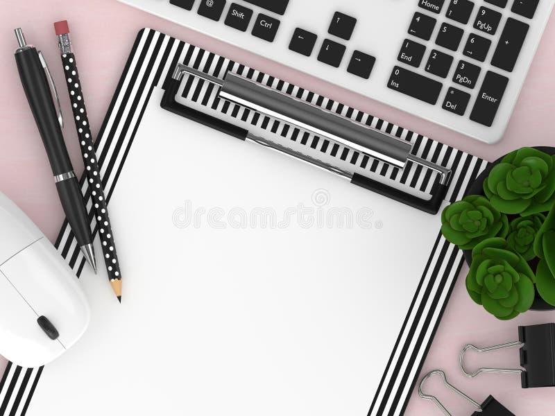 3d odpłacają się odgórnego widoku workspace z biurowymi narzędziami ilustracji