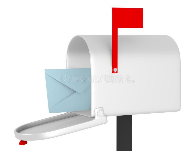 3d Odpłacają się Otwarta skrzynka pocztowa z kopertą ilustracja wektor