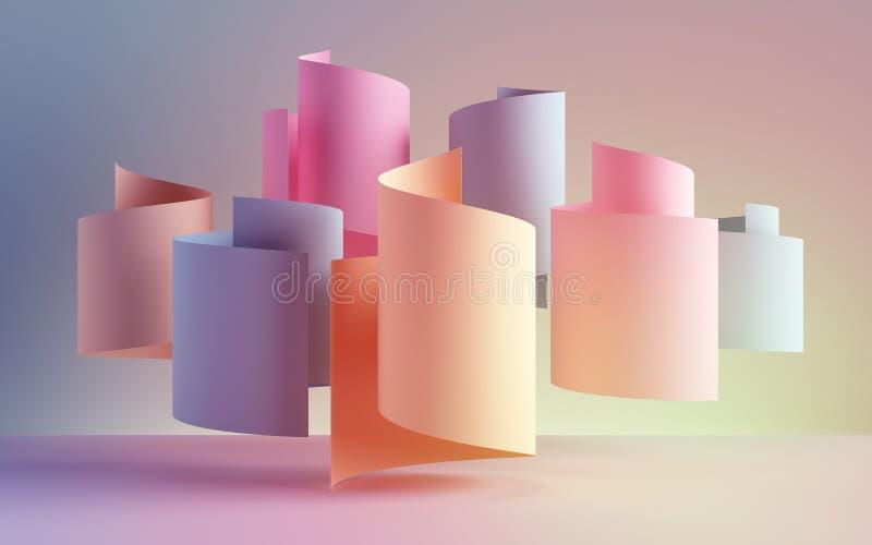 3d odpłacają się, papierowe faborek rolki, abstraktów kształty, mody tło, zawijas, pastelowe neonowe ślimacznicy, kędzior, spiral ilustracji