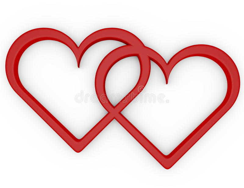 3d Odpłacają się para Otwarci serca ilustracja wektor