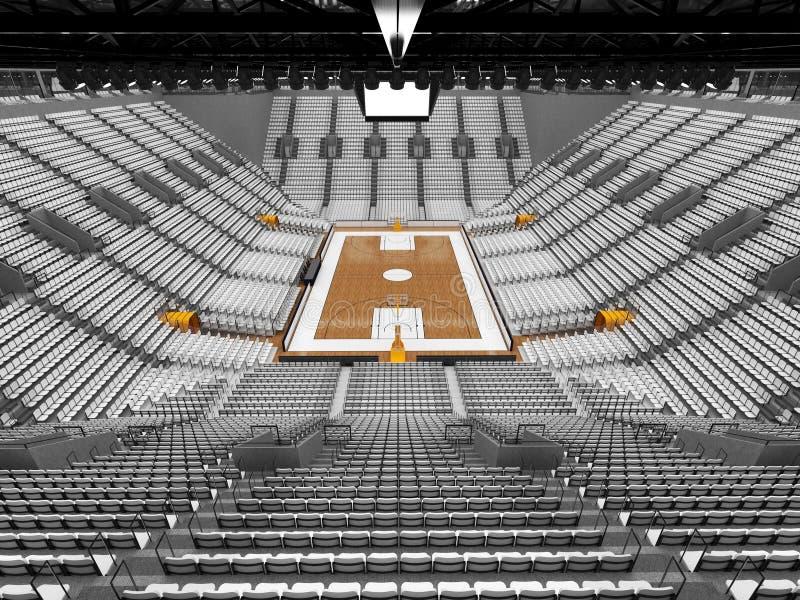 3D odpłacają się piękna arena sportowa dla koszykówki z białymi siedzeniami ilustracji