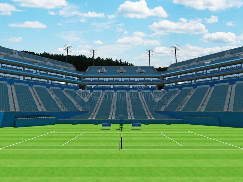 3D odpłacają się piękny wielki nowożytny tenisowy trawa sądu stadium z błękitnymi siedzeniami ilustracji