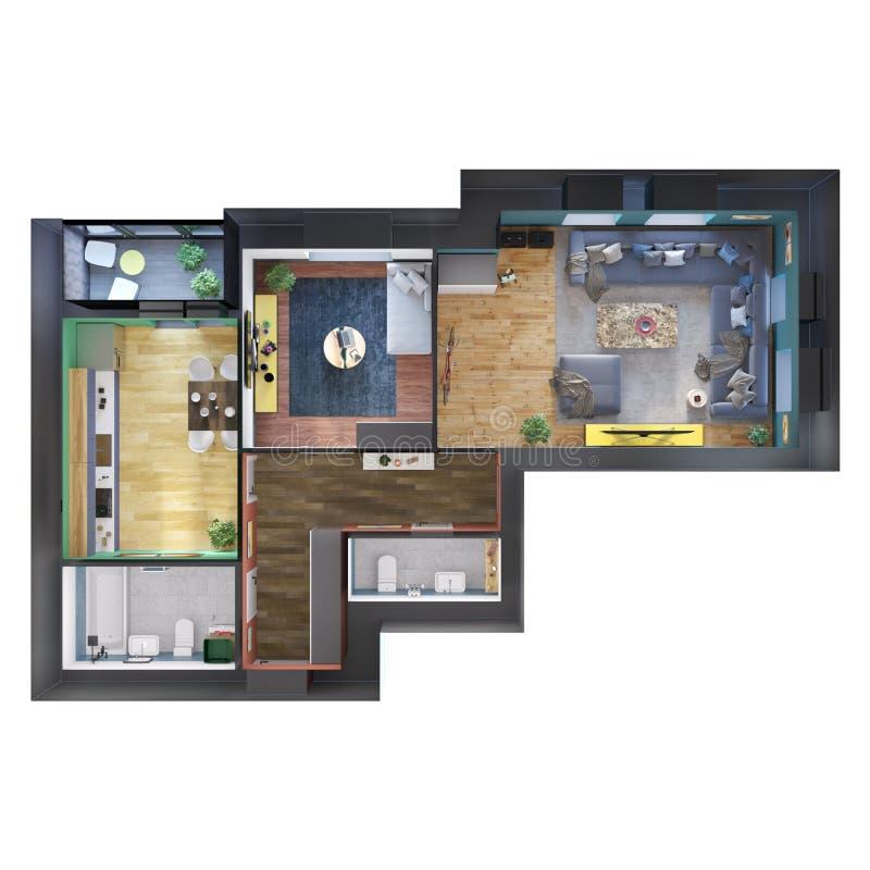 3d odpłacają się plan i układ nowożytny kolorowy dwa sypialni mieszkanie z ogromną kanapą ilustracji