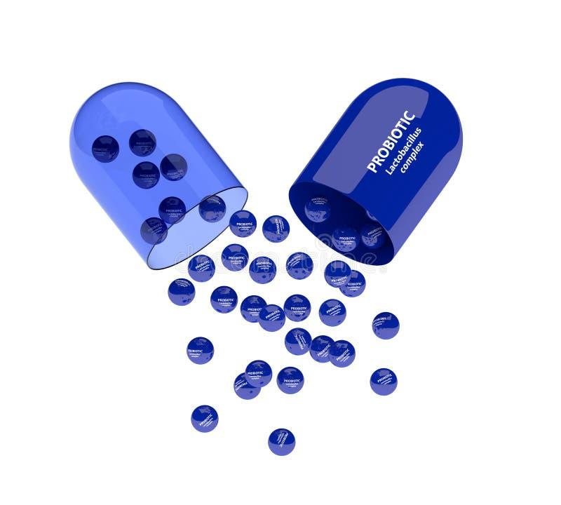 3d odpłacają się probiotic pigułka z granulami nad bielem ilustracja wektor