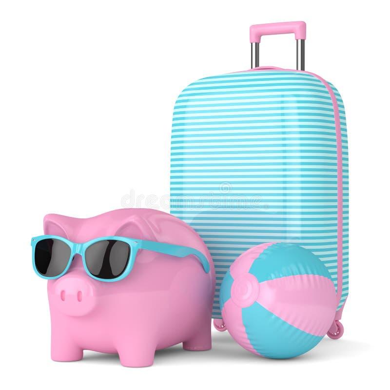 3d odpłacają się prosiątko bank z walizką i plażową piłką royalty ilustracja
