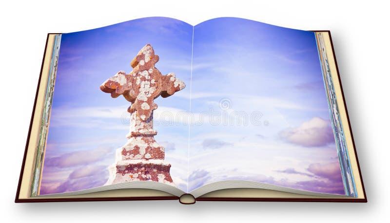 3D odpłacają się rozpieczętowany photobook na białym tle z celt rzeźbiącym kamienia krzyżem zdjęcie stock