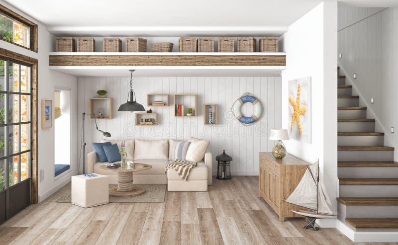 3d odpłacają się - scandinavian mieszkanie ilustracji