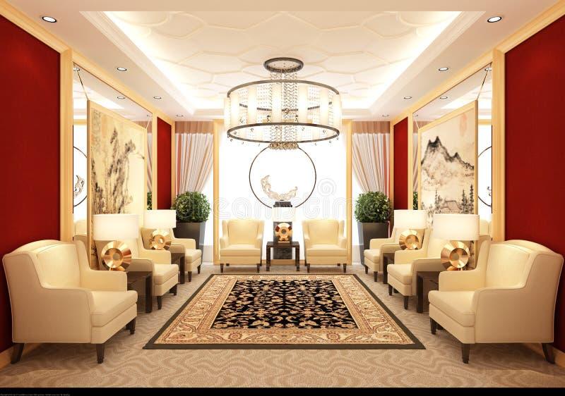 3d odpłacają się siedzący pokój royalty ilustracja