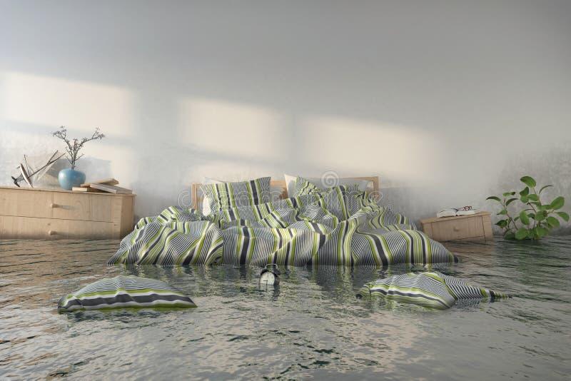 3d odpłacają się Skandynawską sypialnię - Wodny damager - ilustracja wektor