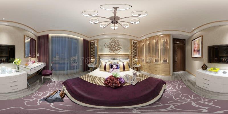 3d odpłacają się 360 stopni sypialni ilustracji