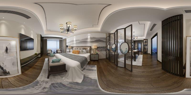 3d odpłacają się 360 stopni sypialni ilustracja wektor