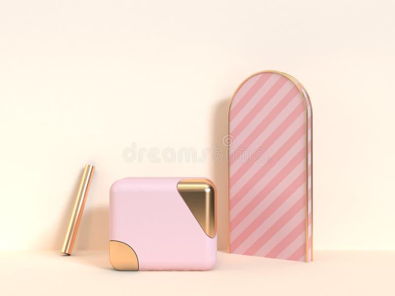 3d odpłacają się sześcian różowy złocisty geometryczny abstrakcjonistyczny kształta przedmiota śmietanki tło ilustracji