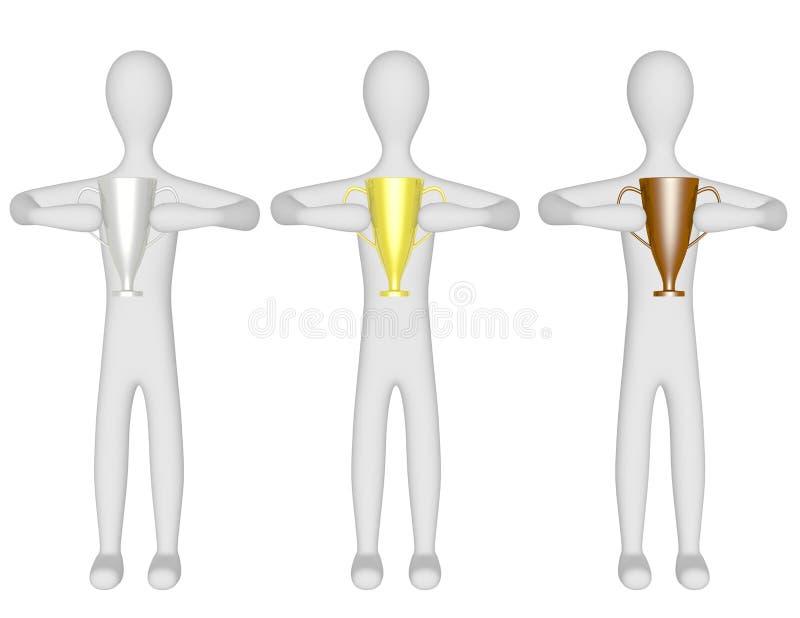 3d Odpłacają się Trzy samiec Trzyma trofea royalty ilustracja