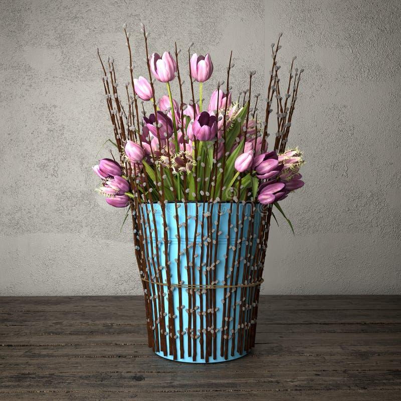 3d odpłacają się wciąż życie - bukiet tulipany - ilustracji