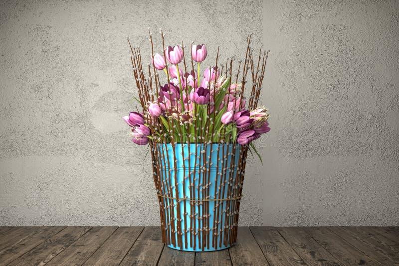 3d odpłacają się wciąż życie - bukiet tulipany - ilustracja wektor