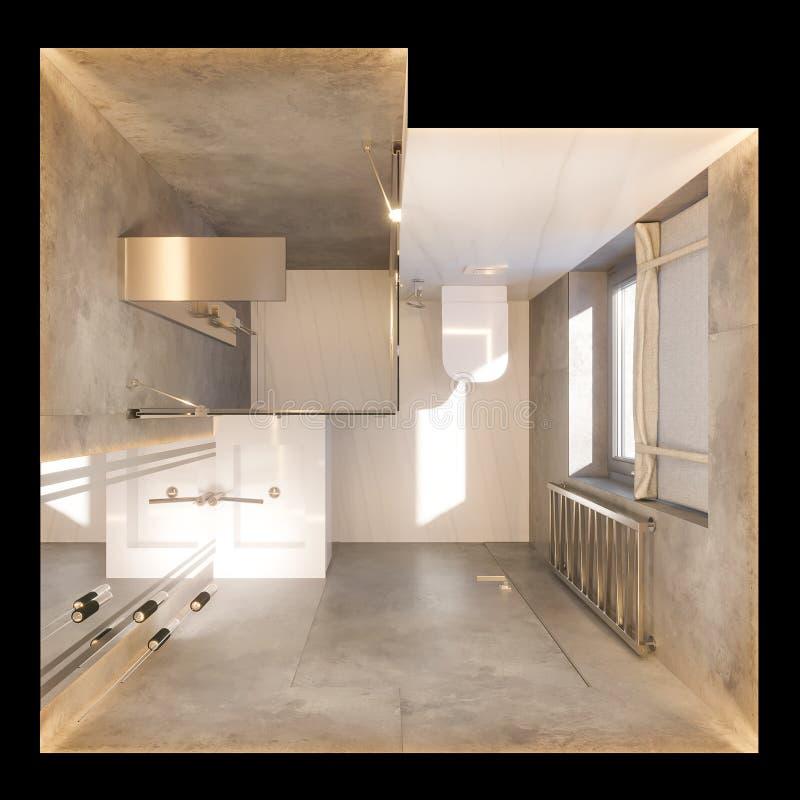 3d odpłacają się wewnętrznego projekt łazienka z szklanym spacerem w prysznic ilustracja wektor