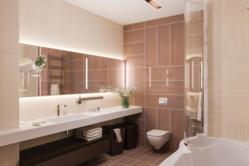 3d odpłacają się wewnętrznego projekt nowożytna łazienka z wielkim mirr royalty ilustracja